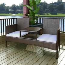 vidaXL Outdoor Bench 2-Seater Poly Rattan Wicker Brown Garden Chairs Fur... - $157.99