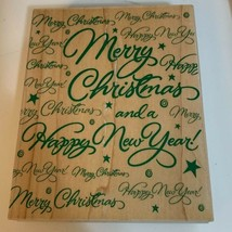 Hero Arts 1997 S1324 Wooden Rubber Stamp Super Merry Christmas Greeting New - $14.99