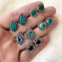 5Pairs/Set Women Vintage Turquoise Earrings Jewelry Ear Stud Boho Earrings - $6.29