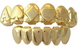Hip Hop 14K Gold Plated Mouth Teeth Grillz Upper & Lower Set Embossed Ca... - $14.95