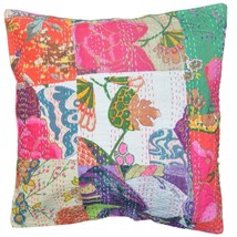 "Indian Kantha Cushion Cover  Hand Embroidery Pillow case Home Decor 16"" ... - £7.03 GBP"