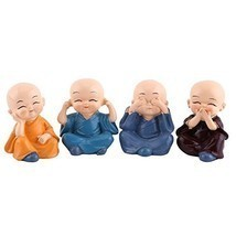 Cooltop 4pcs Monks Figurine Statue, Cute Little Monks Hear No Evil See N... - $16.47