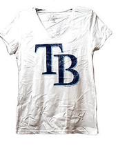 Tampa Bay Ray's Women's V-Neck T-Shirt, White, Large - $11.87