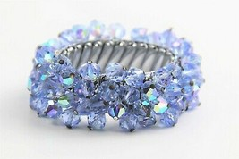 "7"" ESTATE VINTAGE Jewelry BLUE AB GLASS CRYSTAL CHA CHA EXPANSION BRACEL... - $30.00"