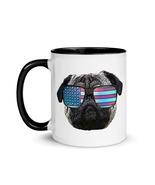 Patriotic Pug Dog Coffee Mug with Color Inside - $22.00