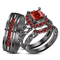 3-Piece Wedding Ring Trio Set In Princess Cut Red Garnet 14k Black GP 925 Silver - $160.99