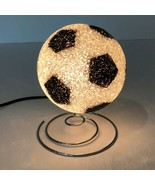 Soccer Ball Light Vintage Retro Light Up Plastic Silver Metal Base Kids ... - $47.99