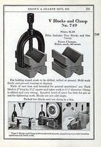 V Blocks Clamp 749 Brown & Sharpe 1941 Catalog Tool Ad - $14.99