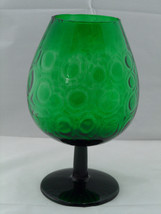 "12"" Mid Century Modern Green Empoli Glass Bubble Optic Brandy Snifter Ve... - $20.44"