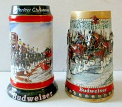 Set of Two Collectible Budweiser Ceramarte Christmas Steins 1988 and 1992 - $19.80