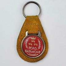 Vintage Ford Fairmont Leather Fob KeyChain Key Ring Metal Coin Back - $16.82