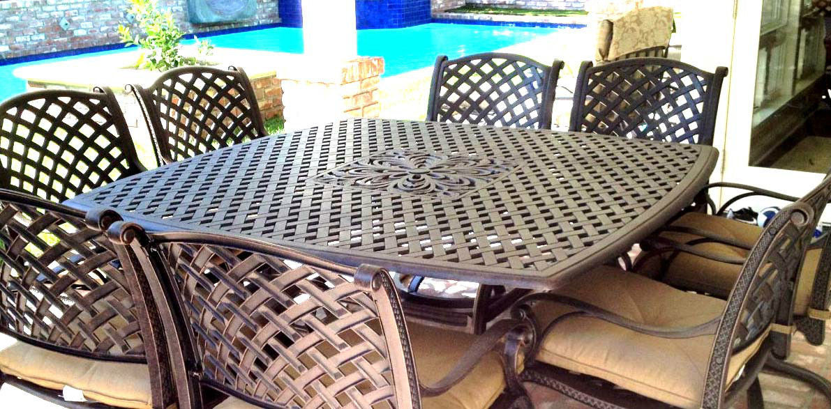 "Nassau 9 Piece Patio Dining Set Square 64"" Table 4 Swivel Rocker's 4 Arm Chairs."