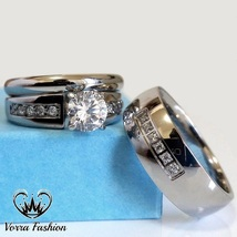 His & Hers Engagement Match Bands Wedding Ring Set Sterling Silver Round Cut CZ - $151.35
