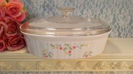 Vintage Corning Ware French White English Meadow Pyroceram 1.8 Liter Qua... - $35.99