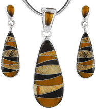 Matching Tigers Eye and Gemstones Set 925 Sterling Silver (Pendant, Earr... - $169.12