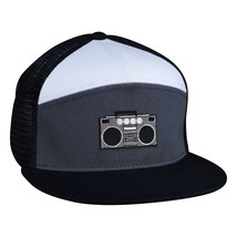 Boombox Trucker Hat - Black, Grey, and White Snapback - £16.01 GBP