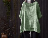 blouse summer casual o neck short batwing sleeve solid vintage cotton linen shirt thumb155 crop
