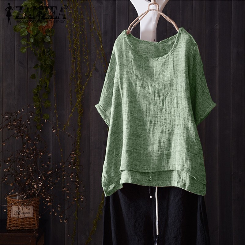 8 zanzea women blouse summer casual o neck short batwing sleeve solid vintage cotton linen shirt