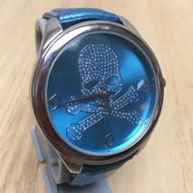 Geneva Uomo Argento Blu Strass Teschio Quadrante Analogico Orologio Al Quarzo - $14.07