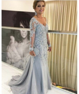 Mermaid V-Neck Long Sleeves Long Mother of The Bride Dress with Appliques - $169.99+