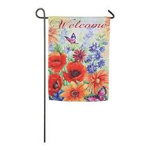 Meadow Creek Bright Wildflowers Welcome Decorative Suede Garden Flag- 2 ... - $14.99