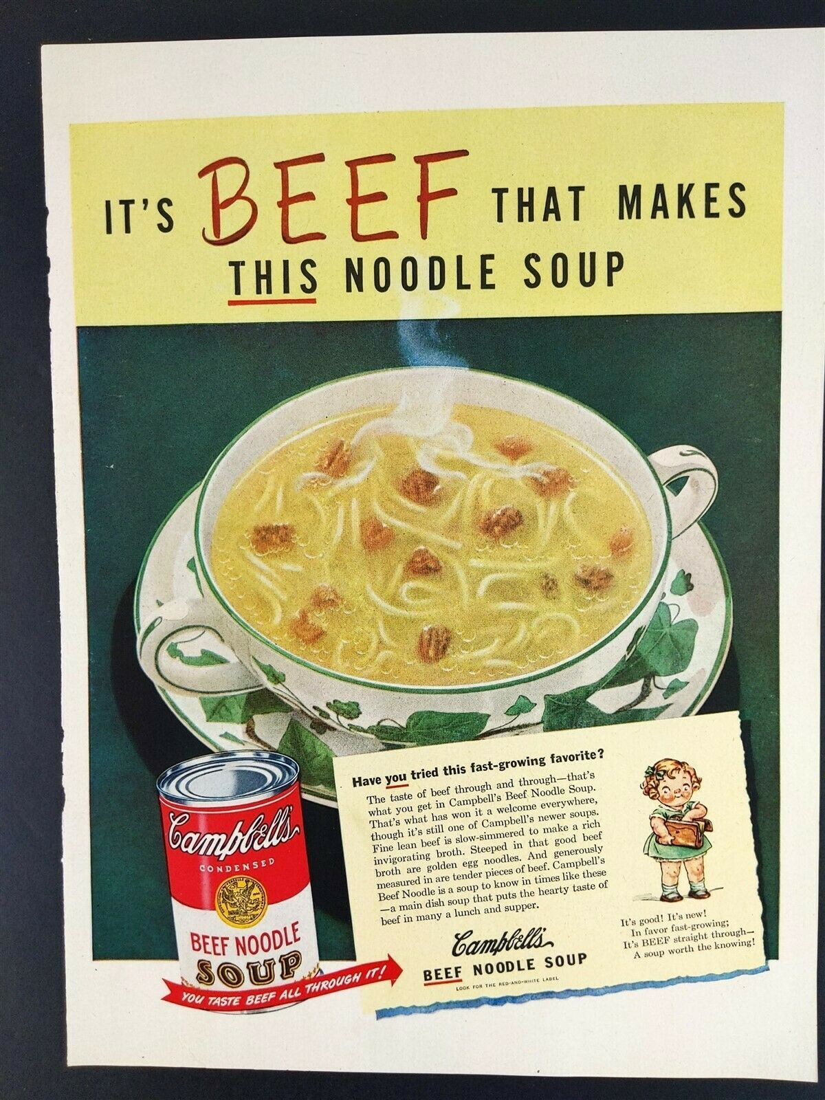1948 Campbell's Beef Noodle Soup Vintage Magazine Print Ad