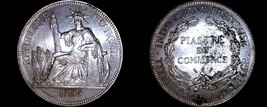 1909-A French Indo-China 1 Piastre World Silver Coin - Vietnam - $199.99
