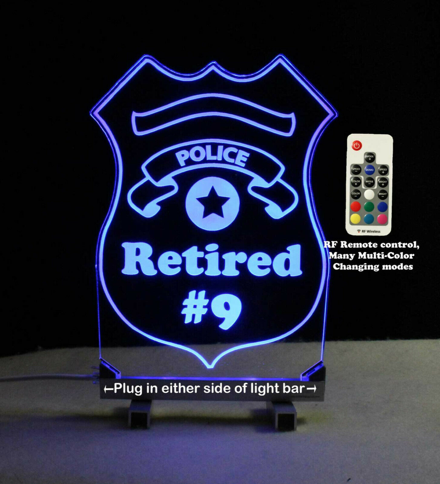 Personalized Police Badge LED Sign - Policeman