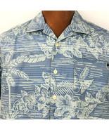 Tommy Bahama Hawaiian Aloha Medium Blue Hibiscus Palm Leaves Pin Stripe ... - $49.49