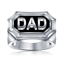 Round Cut CZ 14k White Gold Plated 925 Sterling Silver Black Enamel DAD Ring  - $94.88