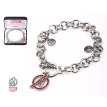 Inspired Silver Stainless Steel Avengers Themed Charm Toggle Closure Bracelet Rh - $48.95