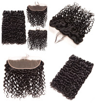 Brazilian Water Wave Human Hair Ear To Ear Lace Frontal Closure 3 Bundle NonRemy - $18.99+