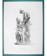 NUDE Sculpture Woodman & Nymph by Schwanthaler - SUPERB 1850s Antique Print - $22.95