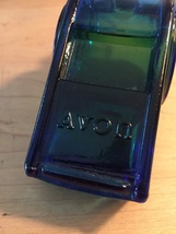 70s Avon Blue Whistle with silver ring after shave bottle (Spicy After Shave) image 3