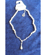 Crown Trifari faux pearl rhinestone drop necklace wedding prom with tag    - $23.40