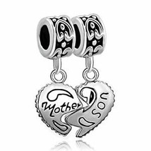 ? 925 Sterling Silver Heart Mother Son Charm Beads Pandora Bracelet Mom ... - $19.29