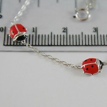 18K WHITE GOLD GIRL BRACELET 5.50 GLAZED LADYBIRD LADYBUG, ENAMEL, MADE IN ITALY image 2