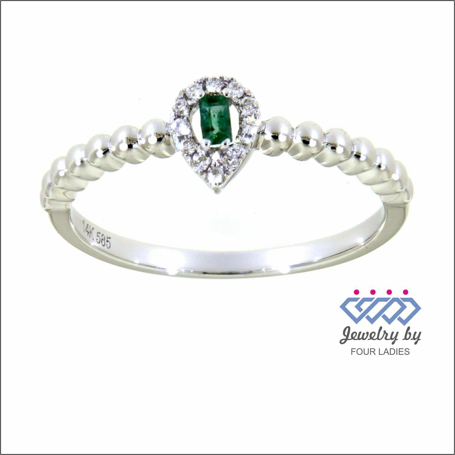 Primary image for Emerald Gemstone 14K White Gold 0.06 Carat Natural Diamond Delicate Ring Jewelry