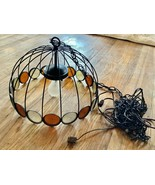 Vtg Mid Century Modern Black Wrought Iron wire Dome Swag Lamp Hanging Li... - $125.00