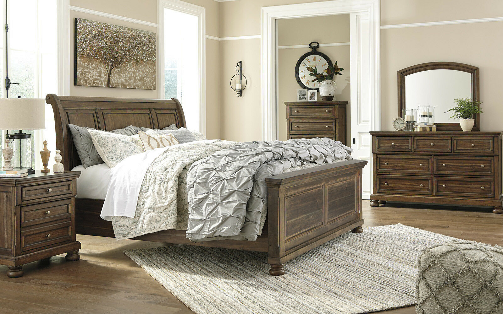 Parkside 5 piece cottage style brown solid wood bedroom - 5 piece queen sleigh bedroom set ...