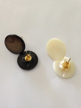 set of 2: dark & light pearlized button pierced earrings with posts - $29.99