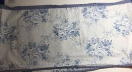 """Valance Chambray Blue and White Shabby Roses 92"""" X 15"""" - $14.85"""