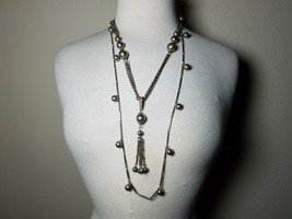 Vintage Fashion Jewelry Set Chain Necklace & Earrings Metal Silver Tone ... - $20.16