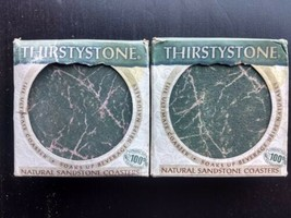 Vintage 2 boxes 1994 THIRSTYSTONE Green Marble Sandstone Coasters 8 Drin... - $39.97