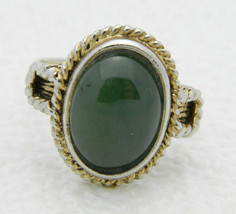 VTG Dual Gold Silver Tone Green Glass Cabochon Cocktail Ring Size 7 - $19.80