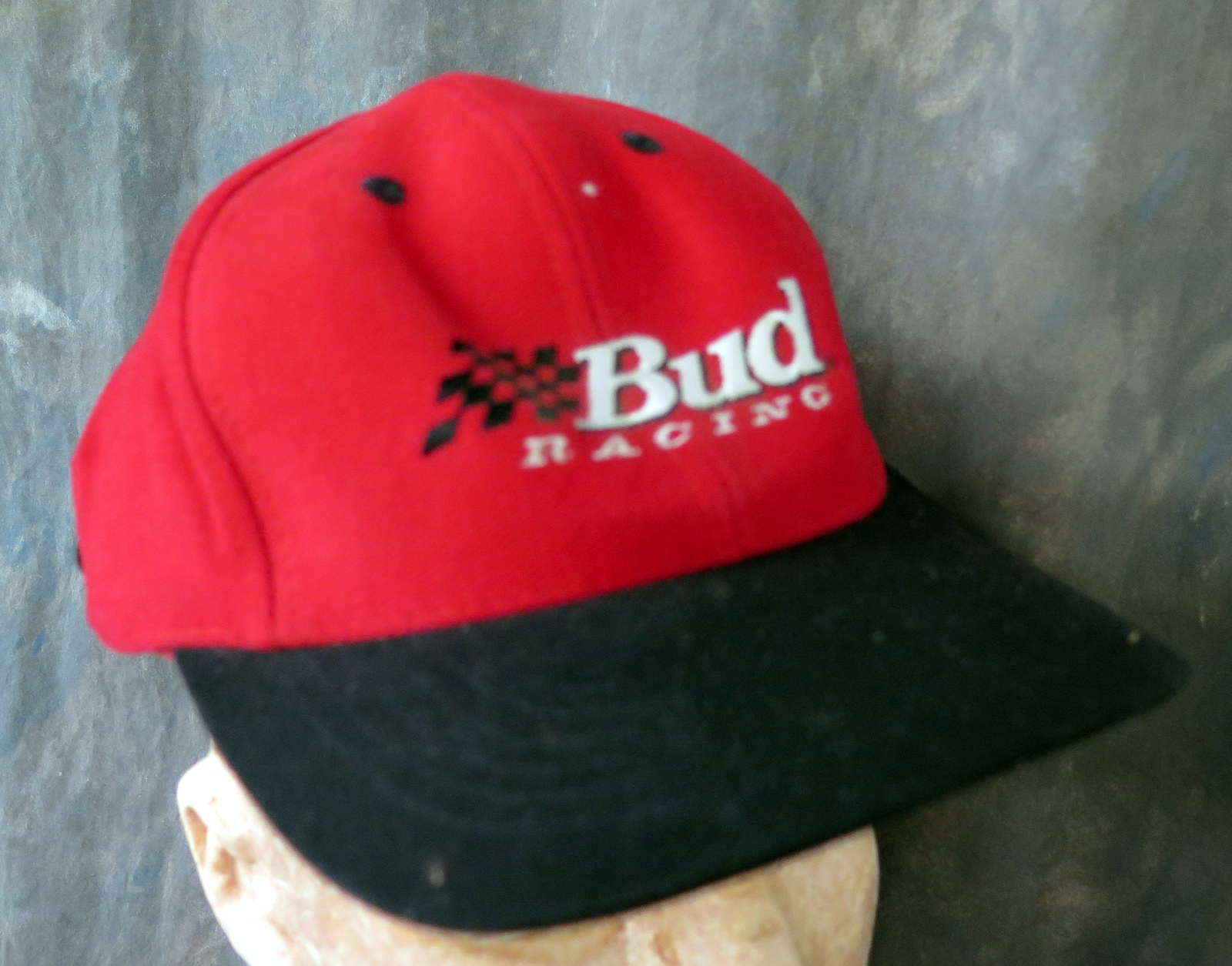 Primary image for Bud Racing Stitched Red and Black 100% Cotton Adjustable Baseball Cap /Tag