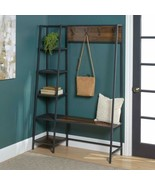 Dk Walnut Metal Wooden Hall Tree Coat Rack Storage Shelves Stand Entrywa... - $223.64
