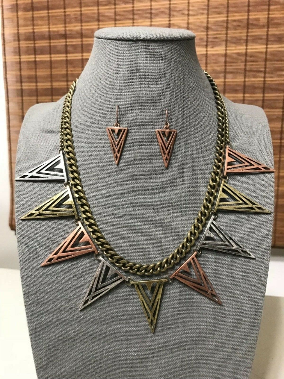 Primary image for Triangle Spike Arrow Necklace & Earrings Set Women Statement Boho Jewelry