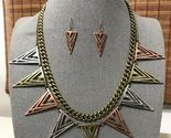 Triangle Spike Arrow Necklace & Earrings Set Women Statement Boho Jewelry