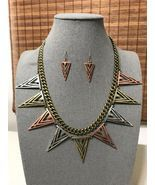 Triangle Spike Arrow Necklace & Earrings Set Women Statement Boho Jewelry  - £14.34 GBP